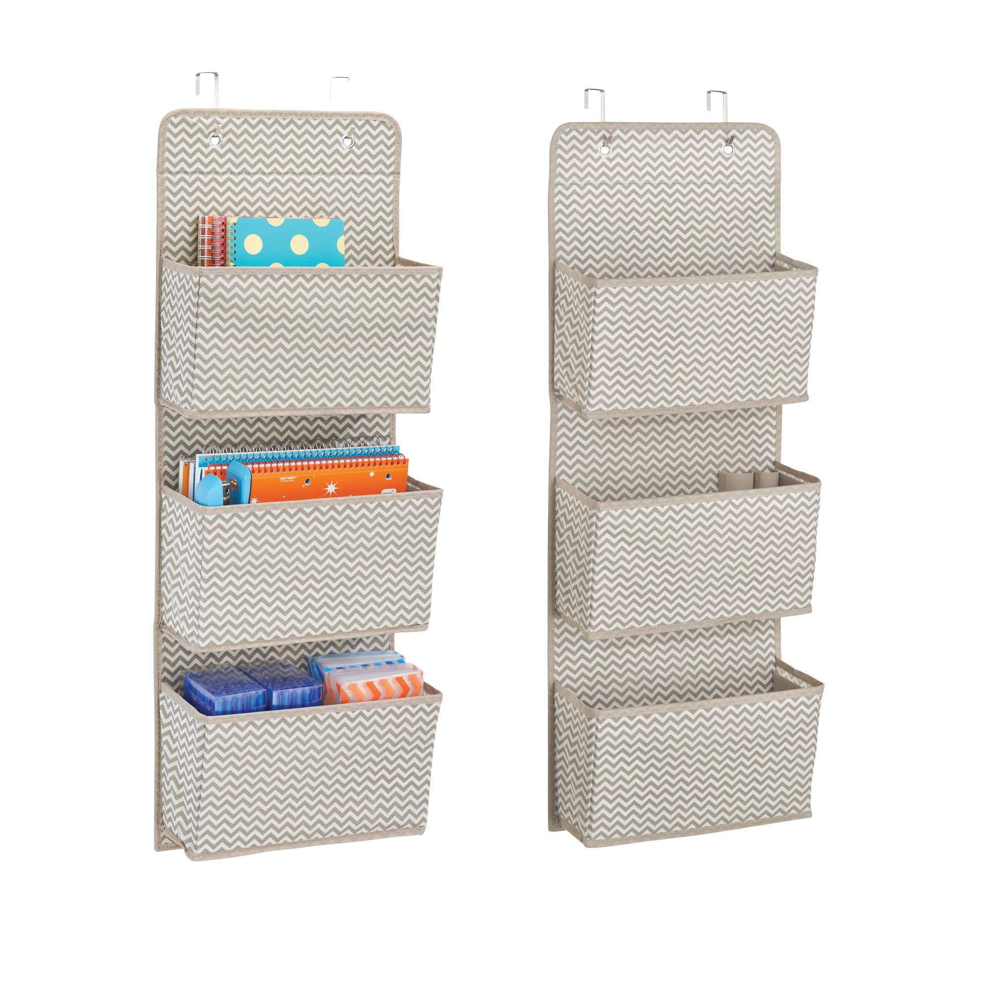 mDesign Over The Door Fabric Office Supplies Storage Organizer for Notebooks, Planners, File Folders - Pack of 2, 3 Pockets Each, Taupe/Natural