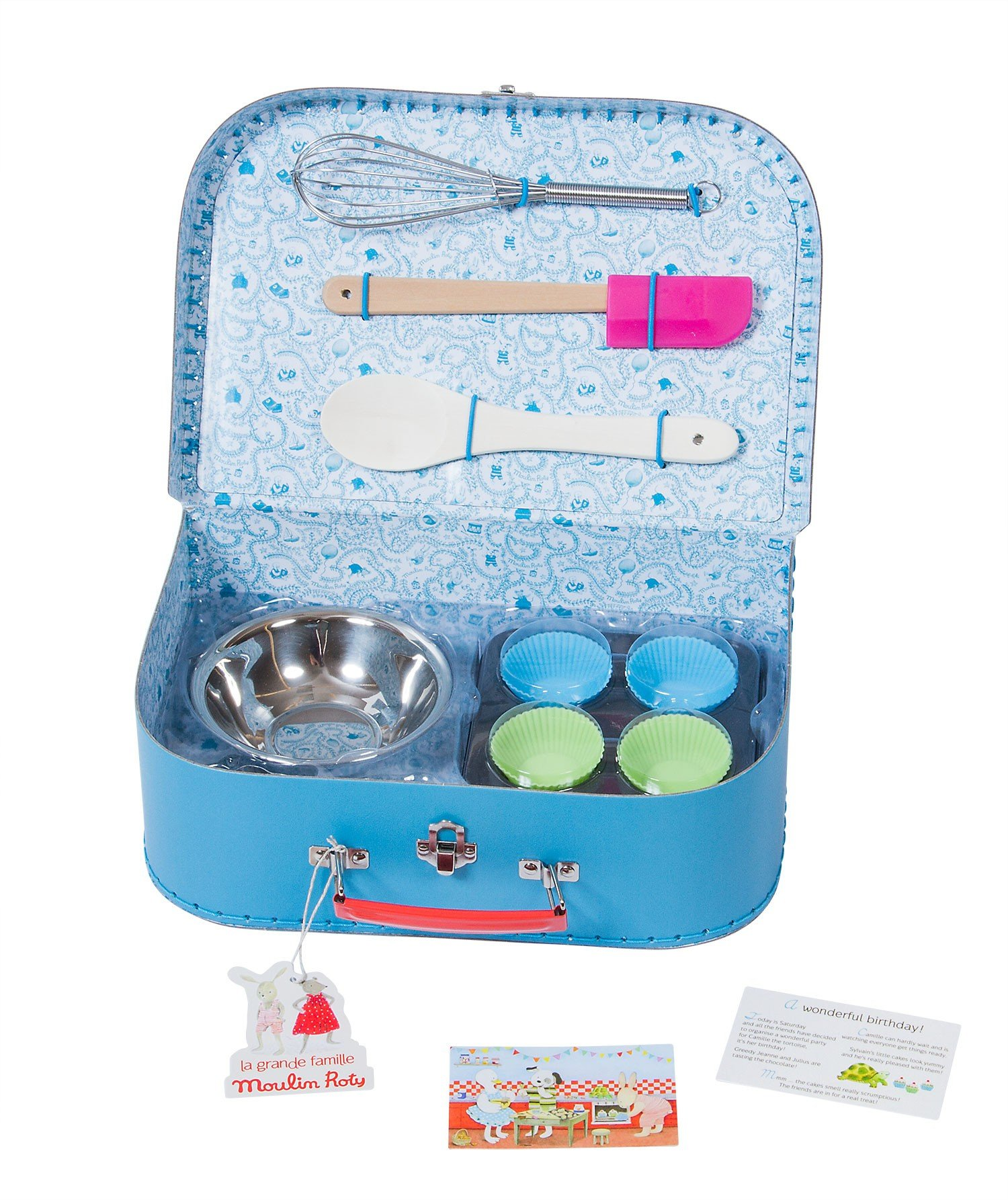 Moulin Roty Je Fais Des Gateaux ''I Am Baking Pastries!'' Child Sized Cooking Tools Toy Set in Carry Suitcase