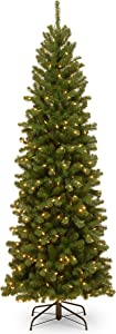 National Tree Company lit Artificial Christmas Tree Includes Pre-strung White Lights and Stand, North Valley Spruce Pencil Slim-7 ft