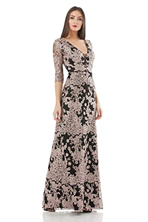 06708d78d9 JS Collection Women s 3 4 Sleeve Deep V Lace Gown at Amazon Women s  Clothing store