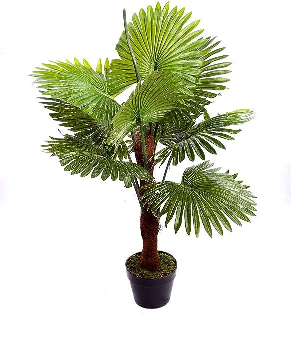 Best Artificial - Palmera de abanico artificial para exteriores o interiores de 90 cm, planta tropical para salón, oficina o jardín.: Amazon.es: Jardín