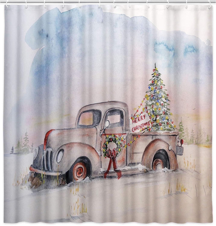 JAWO Christmas Shower Curtain for Bathroom, Christmas Truck Fabric Shower Curtain with Hooks, Country Farmhouse Holiday Bathroom Curtain, 69x70 Inch