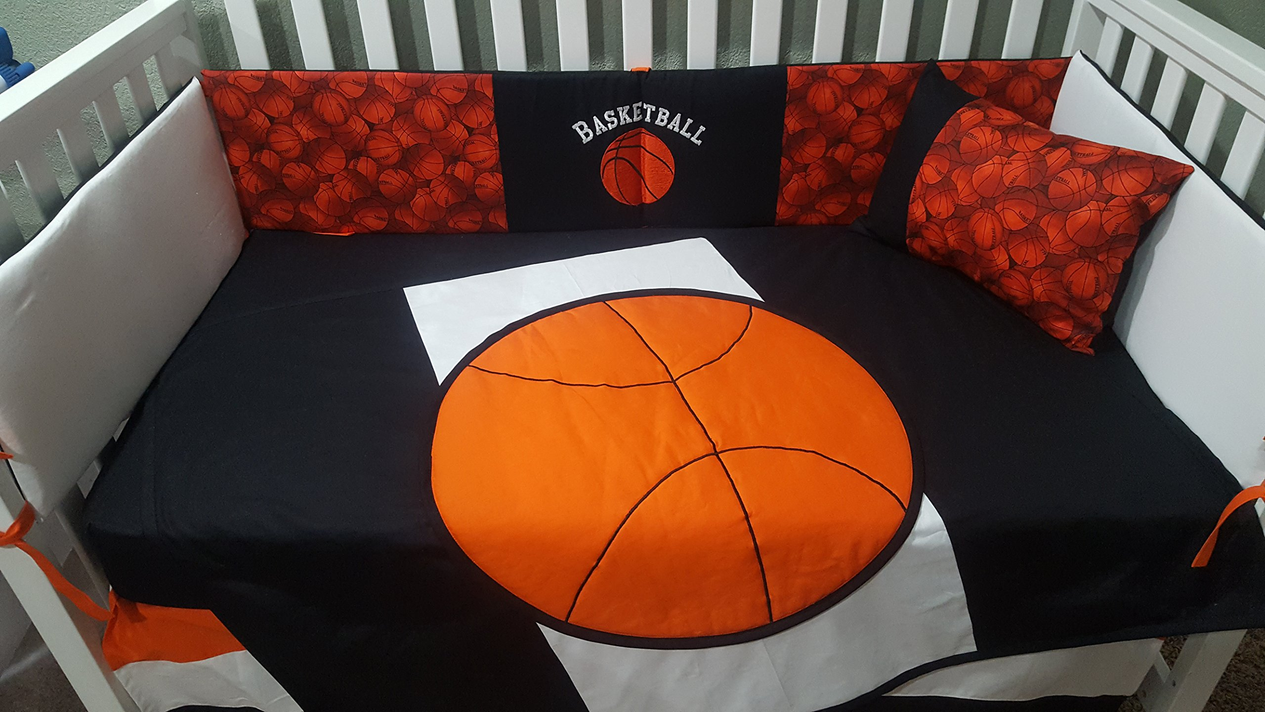 Crib Bedding Set, Basketball Orange, White, Black 6 Piece, Quilted Ball, Embroidered Bumper pads