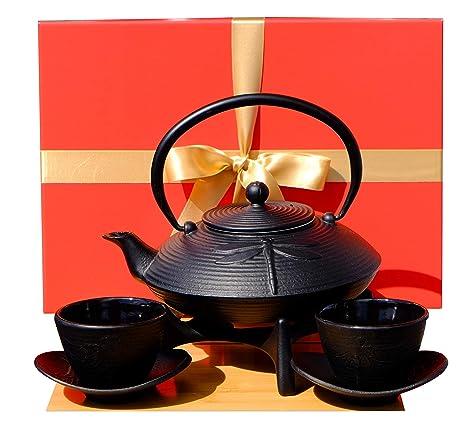 Caja de regalo – Juego de té de hierro fundido negro con diseño de libélula D2