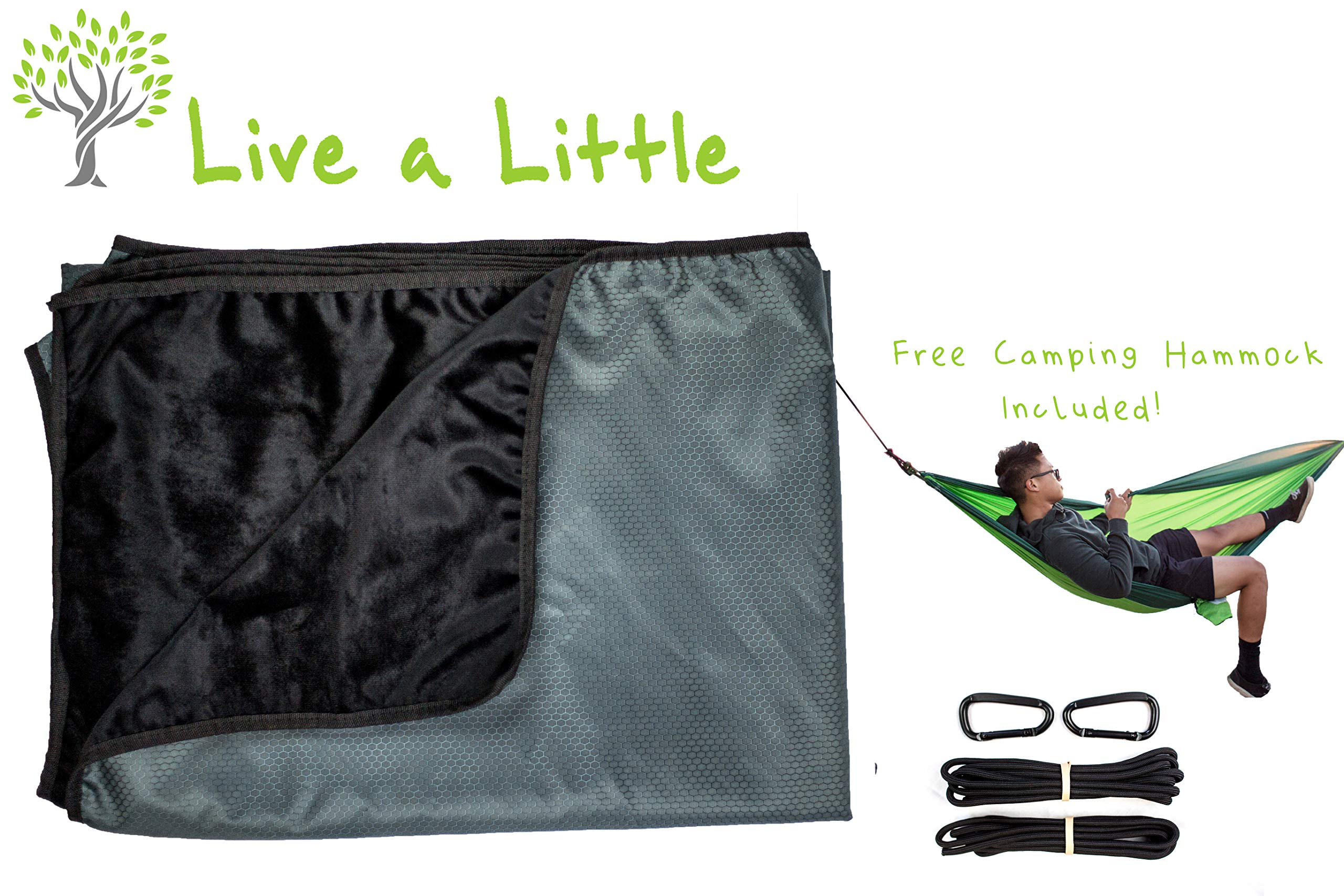 Live a Little Weatherproof Outdoor Stadium Blanket (Free Camping Hammock Included) - Perfect for Camping, Picnic, Beach, Dog, Festivals