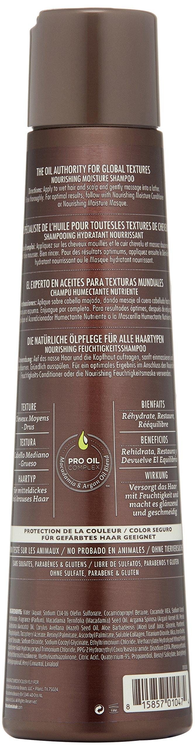Macadamia Professional Nourishing Moisture Shampoo - 10oz. - Medium to Coarse Hair Textures - Moisturizes & Strengthens - With Argan Oil - Sulfate, Gluten & Paraben Free, Safe for Color-Treated Hair