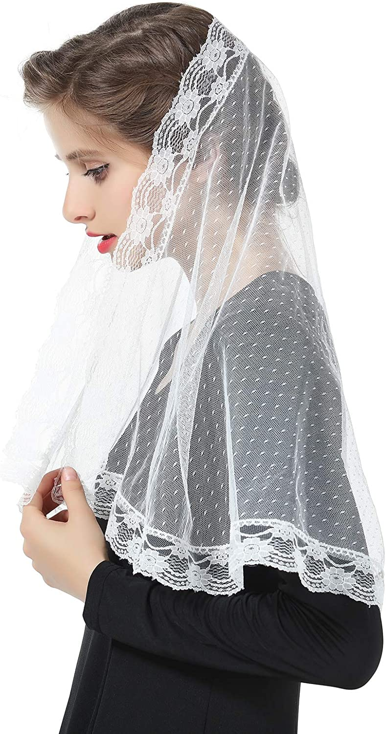 Floral Lace Veil Communion Mantilla Church Cathedral Catholic Chapel Easter Latin Mass Head Covering Off White