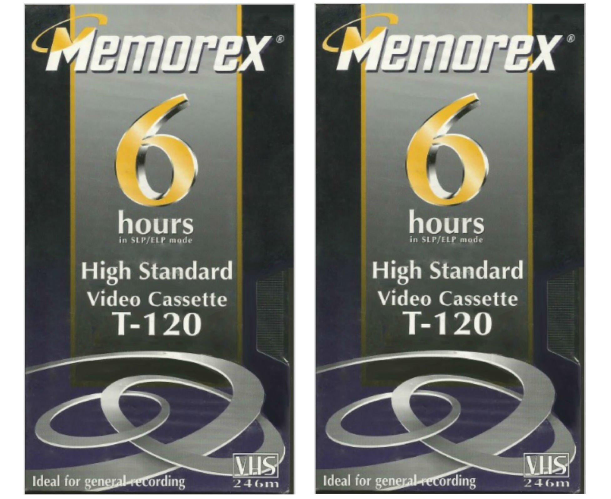 Memorex High Standard T-120 6-hour Video Cassette VHS 2-pack, 246 m -HS by Memorex