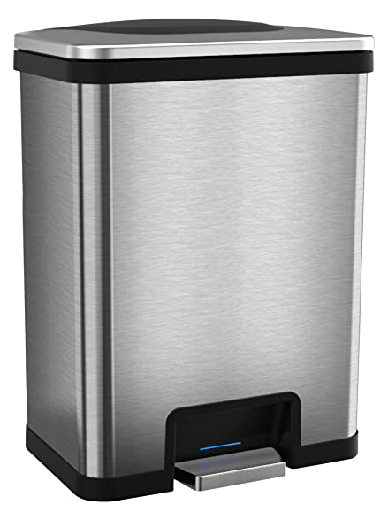 tapcan effortless 13 gallon step sensor trash can automatic stainless steel kitchen trash can with