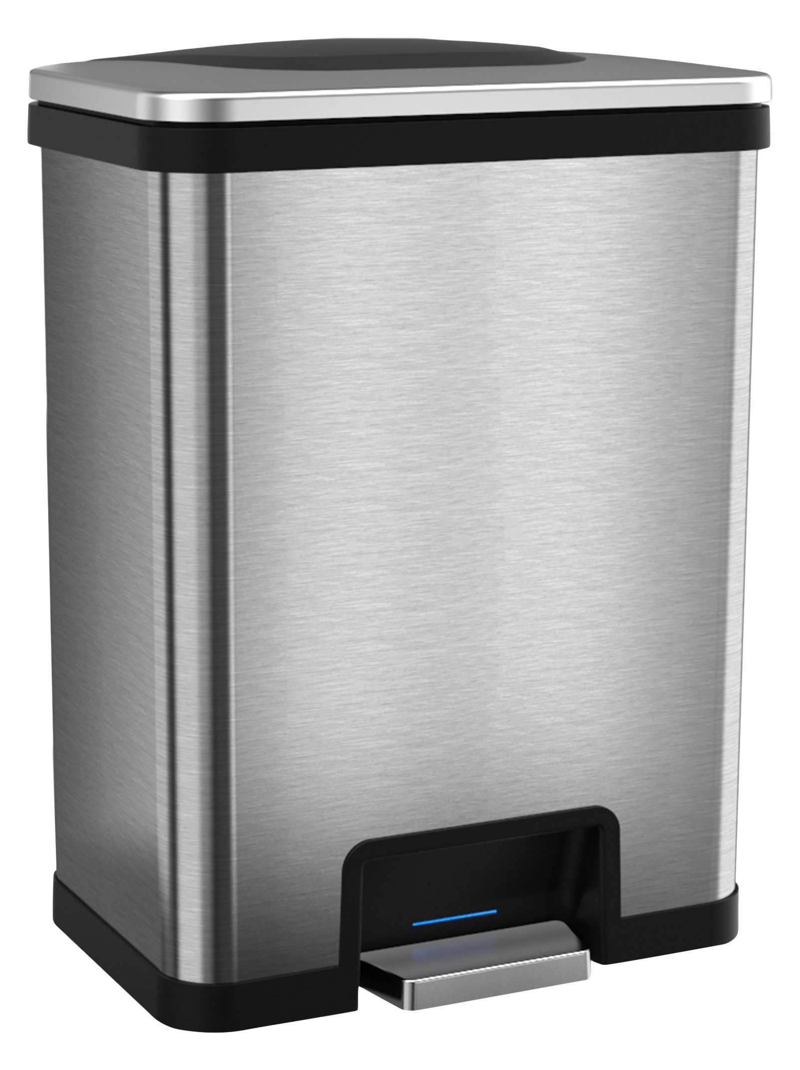 Halo 13 Gallon Automatic STEP Trash Can, Sensor Activated Stainless Steel Kitchen Trash Can with Odor Control System (Black)