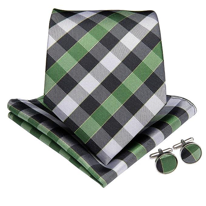 defa7703e420 DiBanGu Men's Green Tie and Pocket Square Woven Silk Plaid Necktie Cufflink  Set