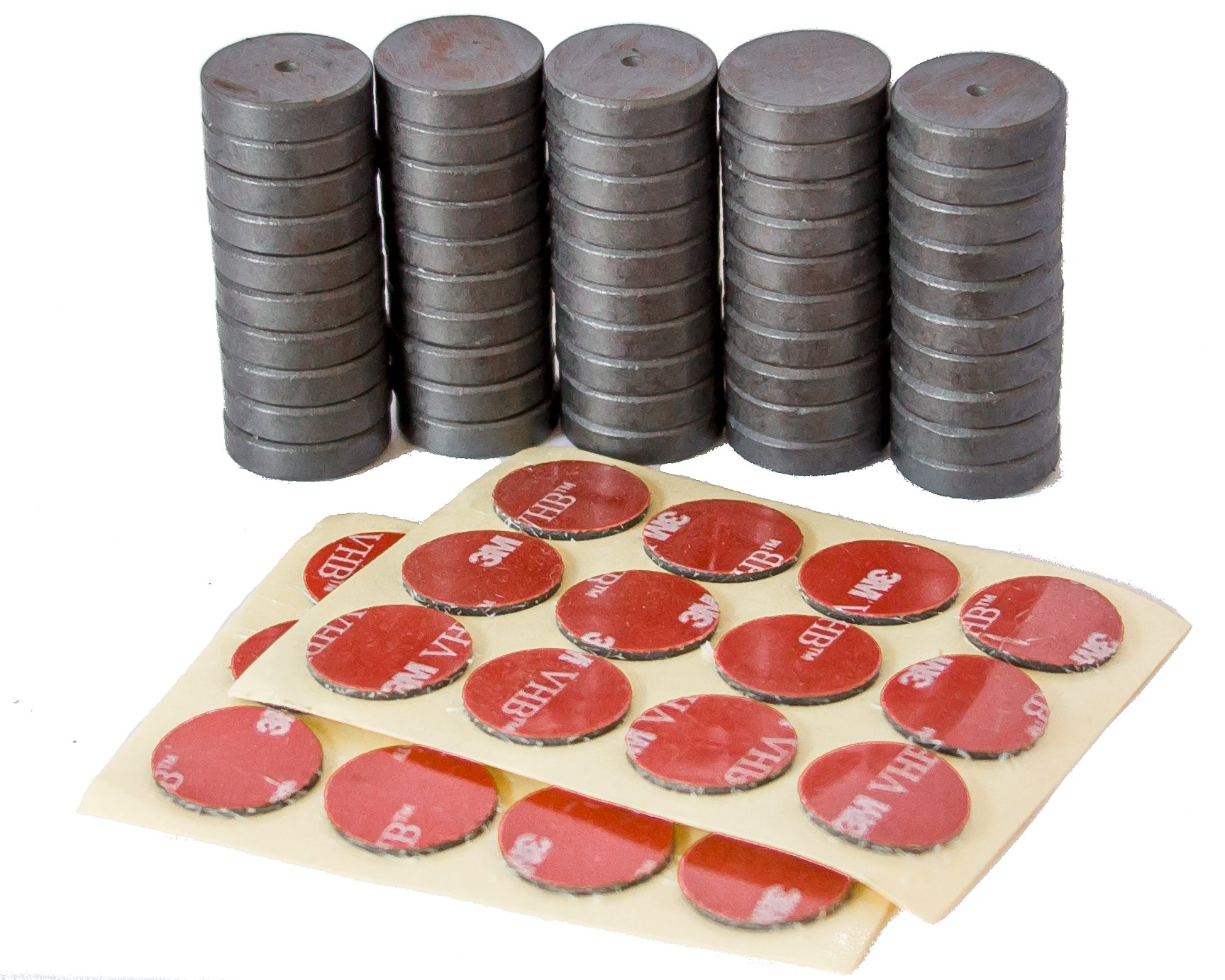 Tuff Magnets, Super Strength Grade 8, comes with 24 3M Adhesive Dots Set, Fridge, Craft, Hobby, School, Heavy Duty. Round Disc, 3/4 inch, 50 pieces/box
