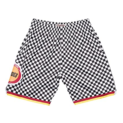 pretty nice 92ec3 2085a Image Unavailable. Image not available for. Color  Mitchell   Ness Houston  Rockets NBA Men Black   White Checkered Swingman Shorts