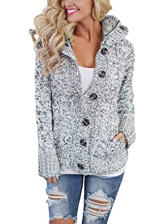 Asvivid Womens Hooded Cable Knit Button Down Outwear Fleece Sweater  Cardigans Coats with Pockets f74bb0db5