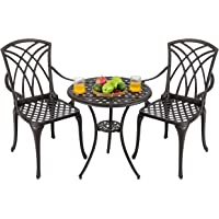 Nuu Garden Outdoor 3 Piece Cast Aluminum Patio Bistro Set - Balcony Conversation Furniture Sets for Yard Porch