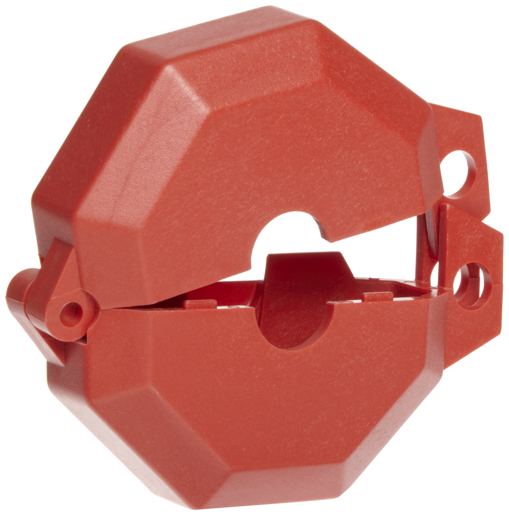 Accuform Signs KDD470 STOPOUT Gate Valve Lockout, Fits Valve Handle Diameter 1'' to 2-1/2'', Hinged Plastic Clamshell Housing, Red