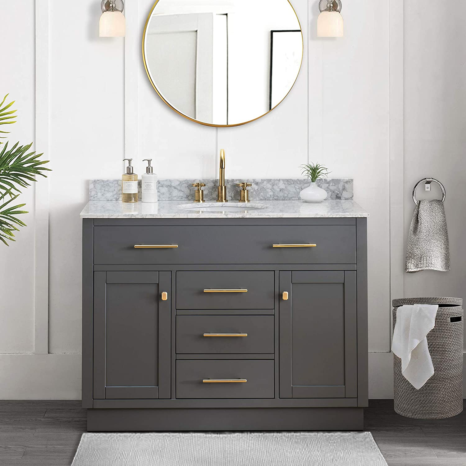 Amazon Com Sj Collection Defoe 48 In Shaker Style Single Sink Bathroom Vanity Blue Gray Home Kitchen