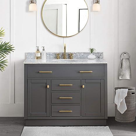 Amazon Com Sj Collection Defoe 48 In Shaker Style Single Sink Bathroom Vanity Blue Gray Home Kitchen