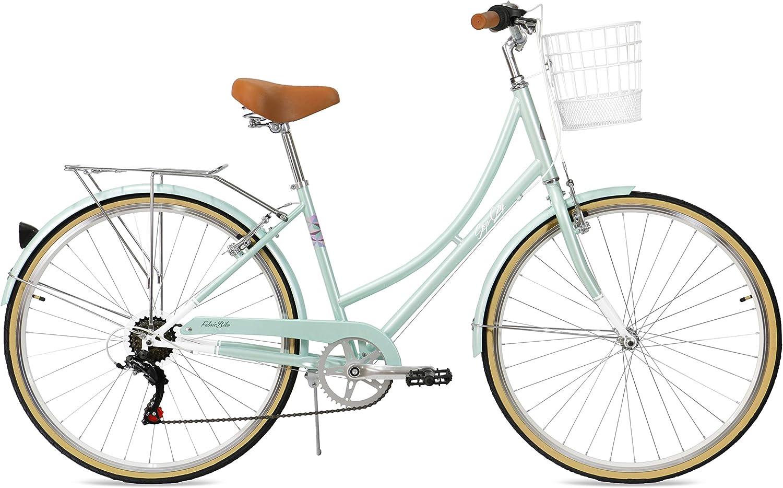 FabricBike Step City- Bicicleta de Paseo Mujer, Bicicleta Urbana Vintage Retro, Bicicleta de Ciudad Estilo Holandesa con Cambios Shimano y Cesta. Sillín Confortable.
