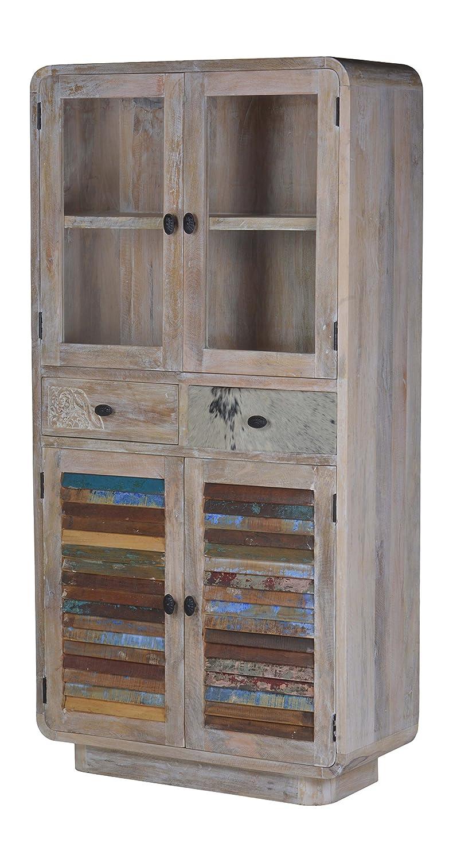 The Wood Times Wohnzimmerschrank Schrank Massiv Vintage Look, Mangoholz Massiv, BxHxT 90x180x40 cm