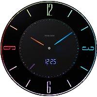 リズム時計工業 置き時計・掛け時計 黒 Φ27x2.1cm 電波 アナログ LED カラー 365色 カレンダー 8RZ197SR02