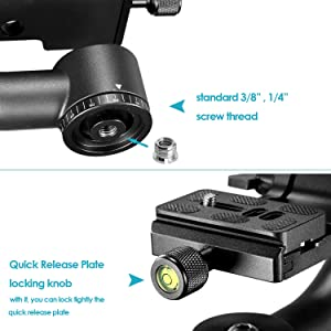 Neewer Professional Heavy Duty Metal 360 degree Panoramic Gimbal Tripod Head with Arca-Swiss Standard 1/4'' Quick Release Plate and Bubble Level for Digital SLR Cameras up to 30lbs/13.6 kg (Color: Black, Tamaño: 11.4 x 10.1 x 3 inches)