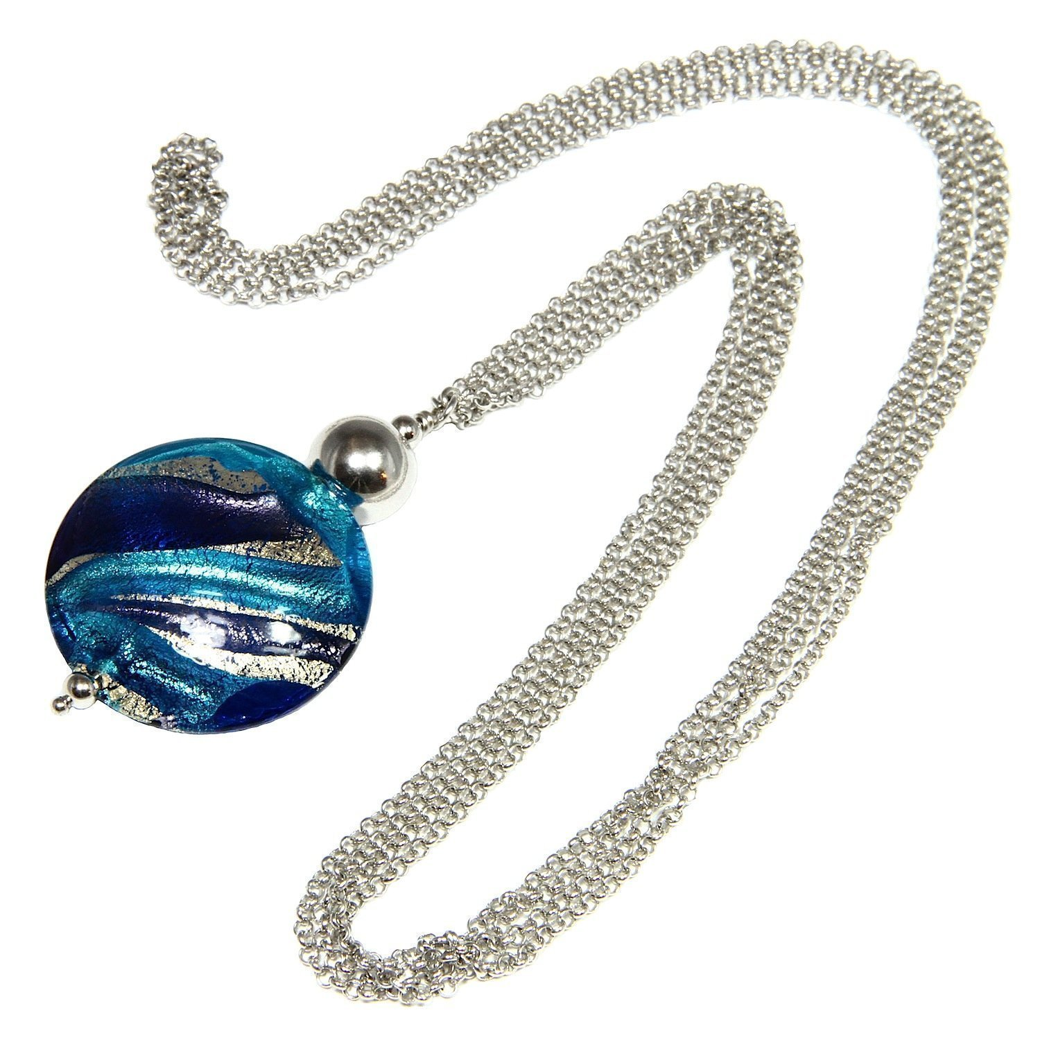 Necklace, woman in 925 silver rhodium plated, stainless steel and Murano glass enhanced by a white gold leaf made in Florence. CCR012/W07