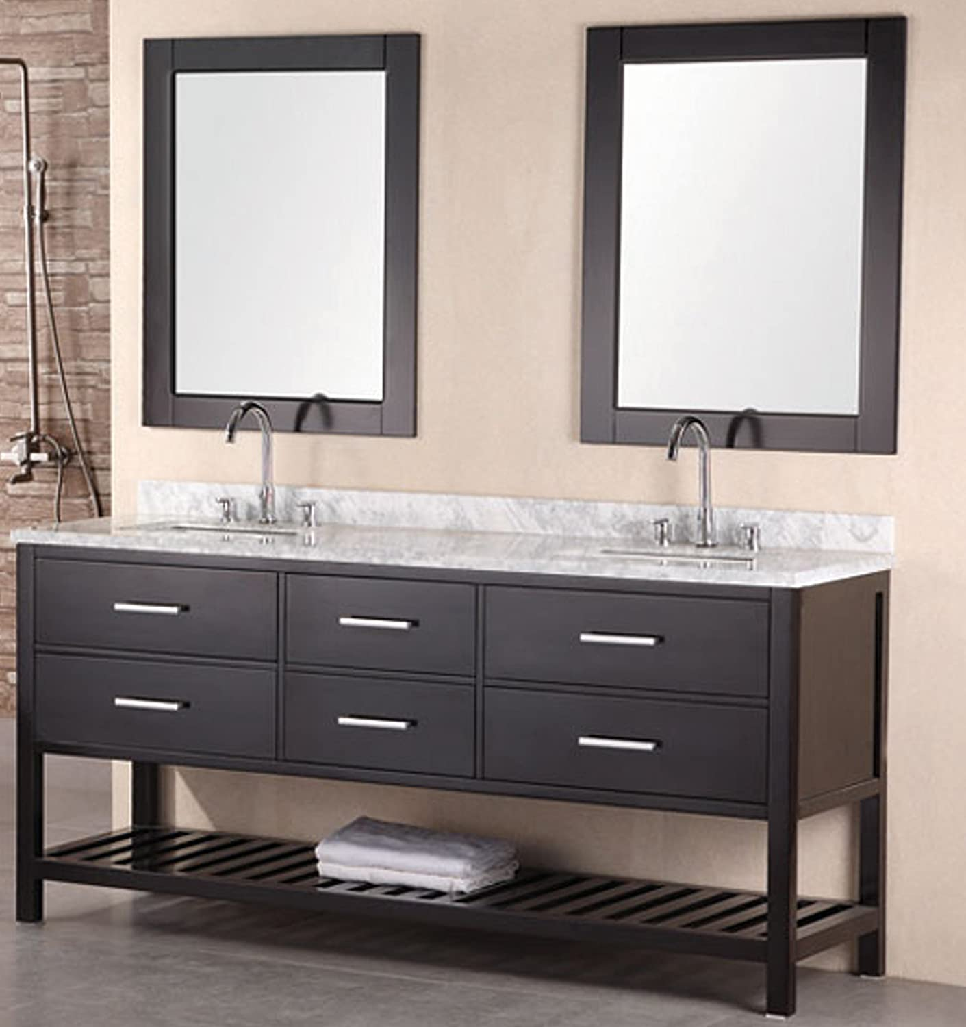 design element dec077b london 72 inch double sink vanity set vanity mirrors amazoncom - Bathroom Cabinets Kzn