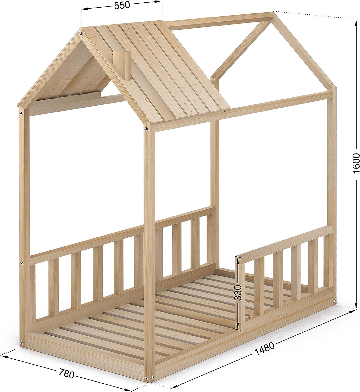 Cama Infantil Tipo Montessori, Casita Madera Natural con Barrera Barandilla, para niño y niña, 70 x 140 cm: Amazon.es: Hogar