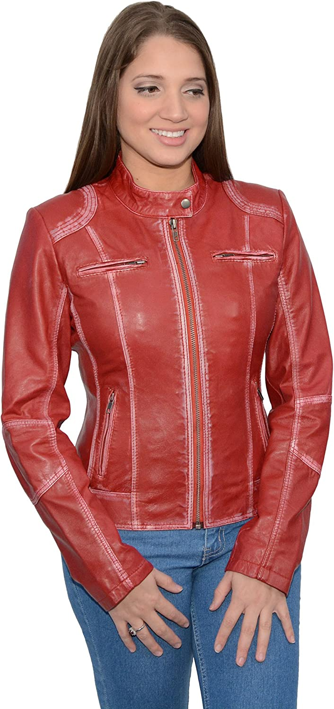 Milwaukee Leather Women\'s Sheepskin Scuba Style Moto Jacket (Red, X-Large) 81gbLkpTBNLSL1500_