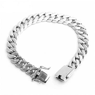 bf41bf00e7d3 Image Unavailable. Image not available for. Color  Bishilin 925 Sterling  Silver Bracelet for Men Square Curb Chain ...