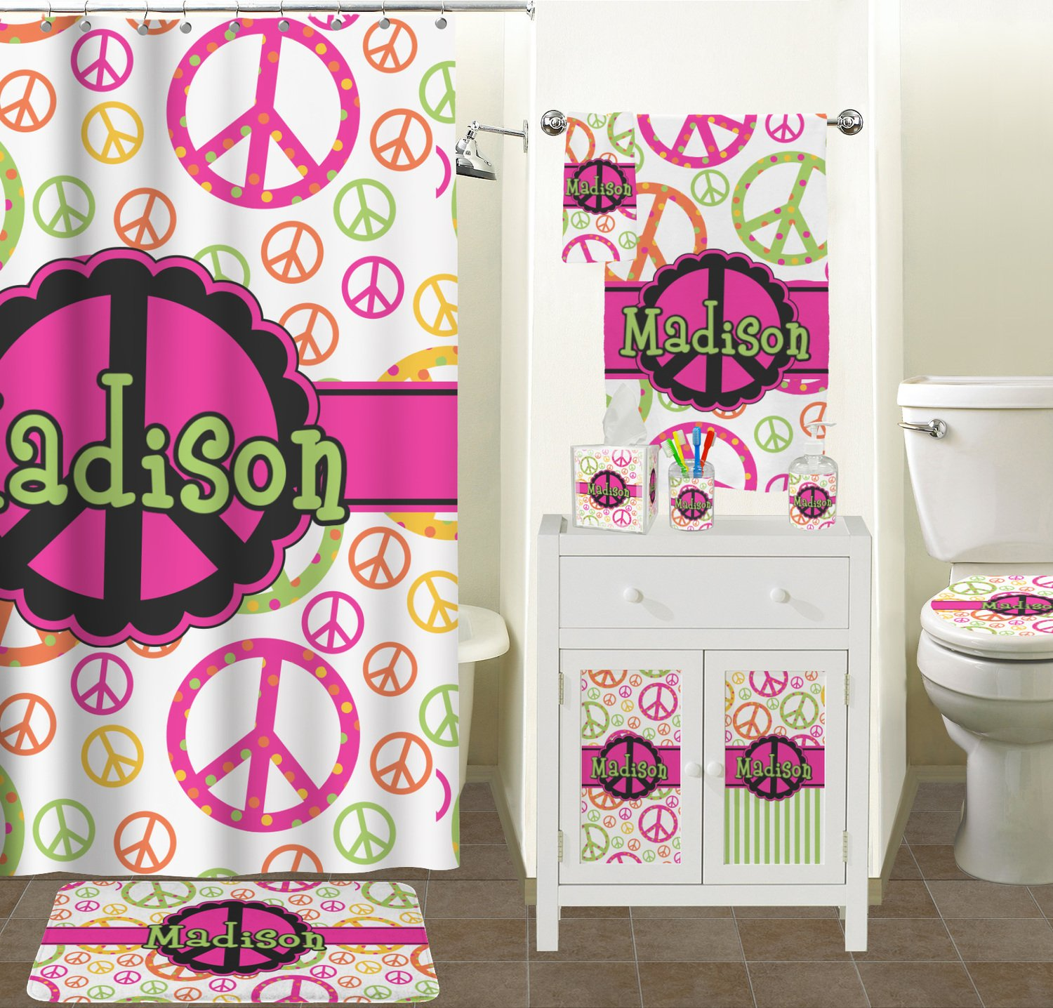 Amazon Com Peace Sign Bathroom Accessories Set Personalized Home Kitchen