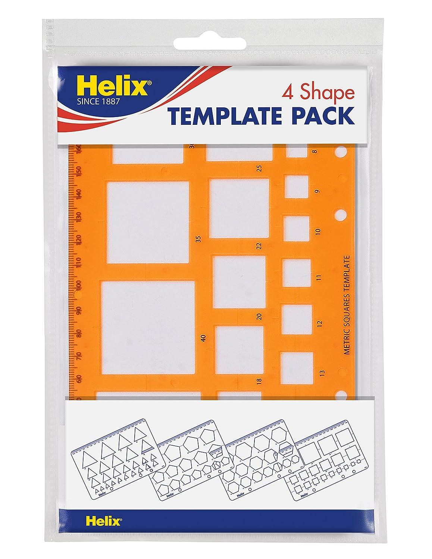 Helix H60010 - Juego de plantillas con regla (para matemáticas ...
