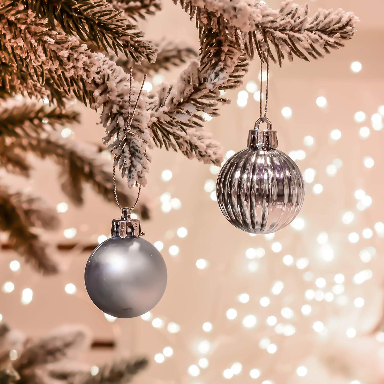 Addobbi e Decorazioni Natalizi Decorazione dellalbero di Natale Plastica Argento Christmas Ball Valery Madelyn Palline di Natale 24 Pezzi 4cm Regali dei Ciondoli e Pendenti di Natale
