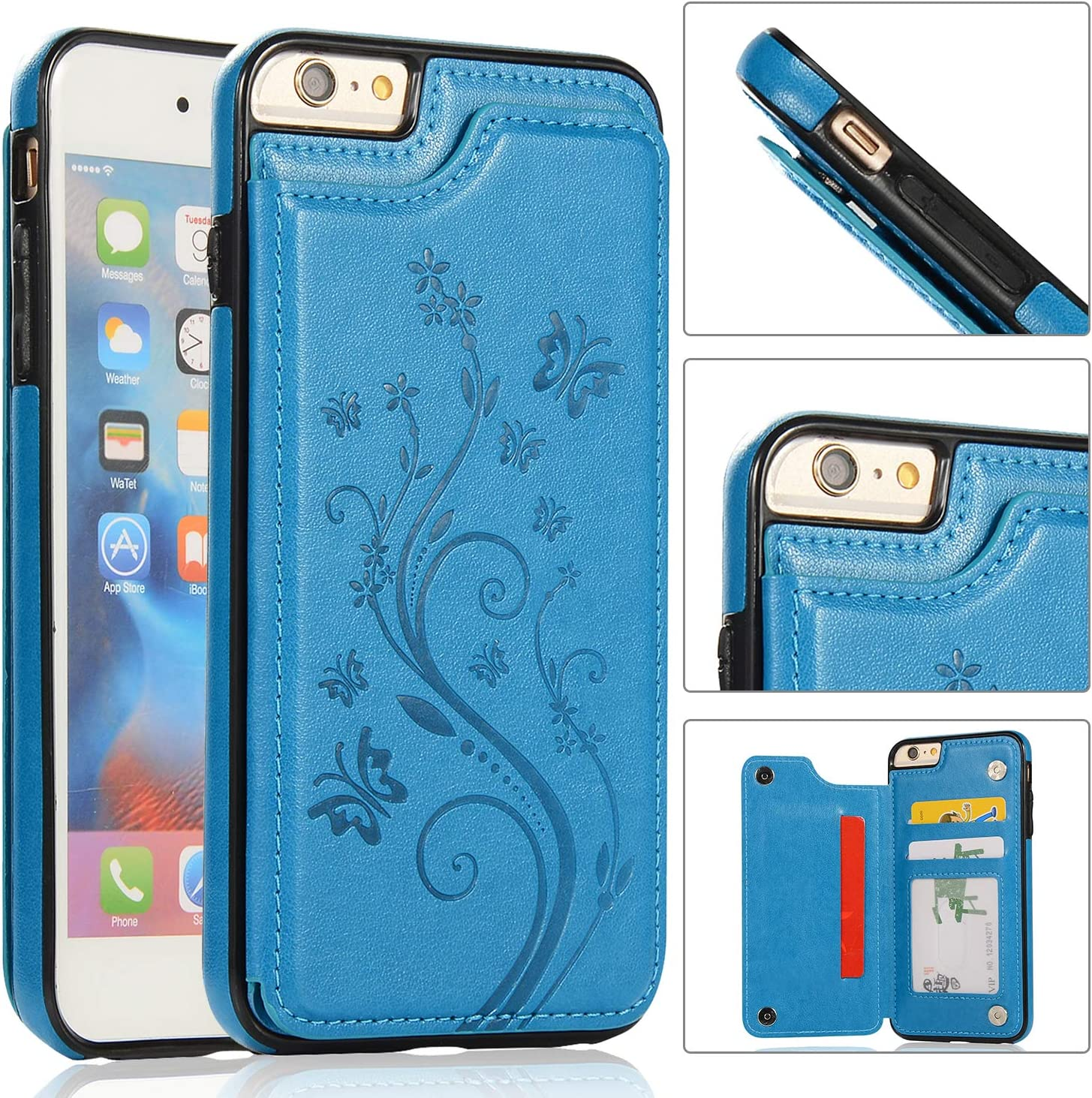 i-Dawn iPhone 6s Wallet Case with Card Holder,iPhone 6 Case [Butterfly Series] Wallet for Women Girls Men, Compatible with iPhone 6S Cute Case Slim Fit Premium Leather Cover with Stand,Durable -Blue