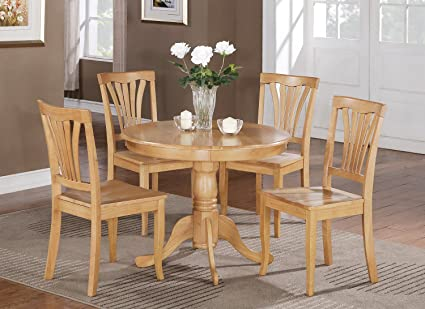 3 PC Round Bristol Table Dinette Kitchen Table & 2 Chairs In Oak 36\