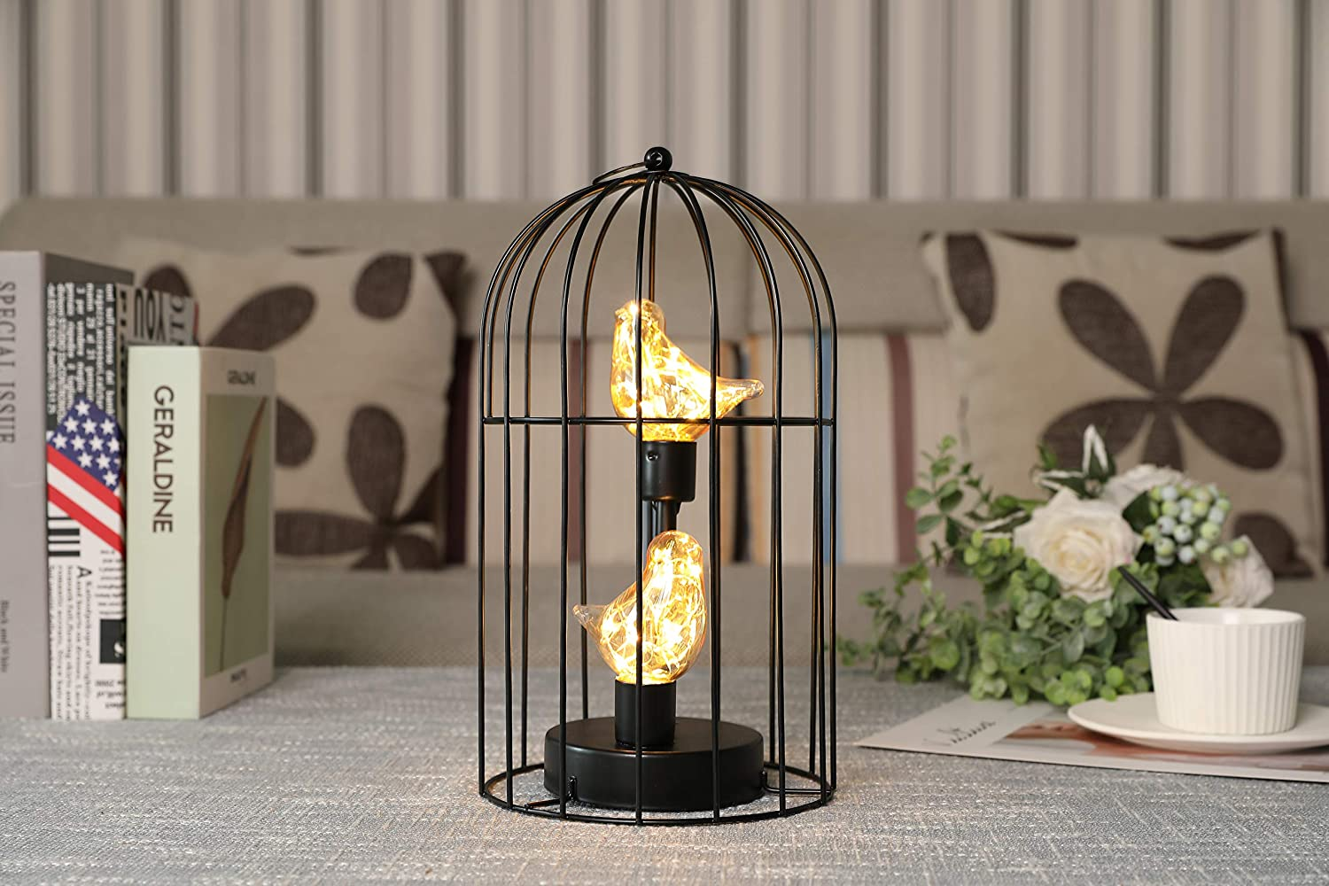 JHY DESIGN Birdcage Decorative Lamp Battery Operated 12 Tall Cordless Accent Light with Warm White Fairy Lights Bird Bulb for Living Room Bedroom Kitchen Wedding Xmas Black