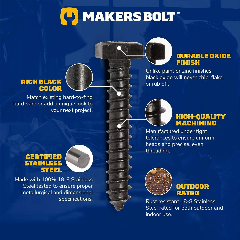 Makers Bolt Sechskantschrauben A schwarzes Oxid in den USA 27616 1//4 x 1-1//2 18-8 25 Pack 304 Edelstahl