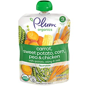 Plum Organics Stage 3, Organic Baby Food, Carrot, Sweet Potato, Corn, Pea and Chicken, 4 ounce pouches (Pack of 6)