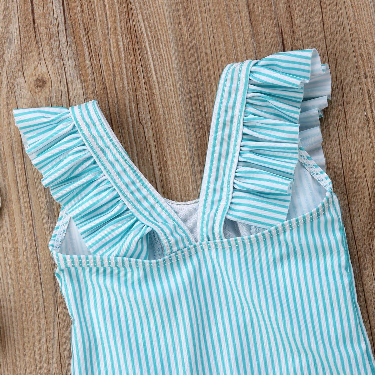 ITFABS Newborn Baby Girl Floral Swimsuit Ruffles Bathing Suit Bikini Striped Swimwear for Baby Girls Beach Wear