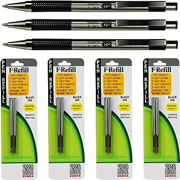 Amazon.com: Zebra F-301 – Plumas con recambios, tinta negra ...
