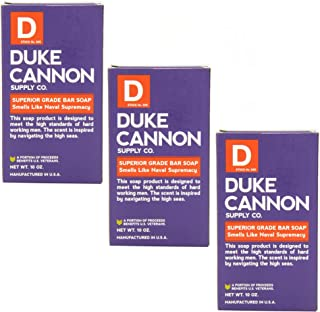 product image for Duke Cannon Supply Co. - Big American Brick of Soap, Smells Like Naval Supremacy (3 Pack of 10 oz) Superior Grade Masculine Scent Bar Soap Designed for Hardworking Men - Refreshing Ocean