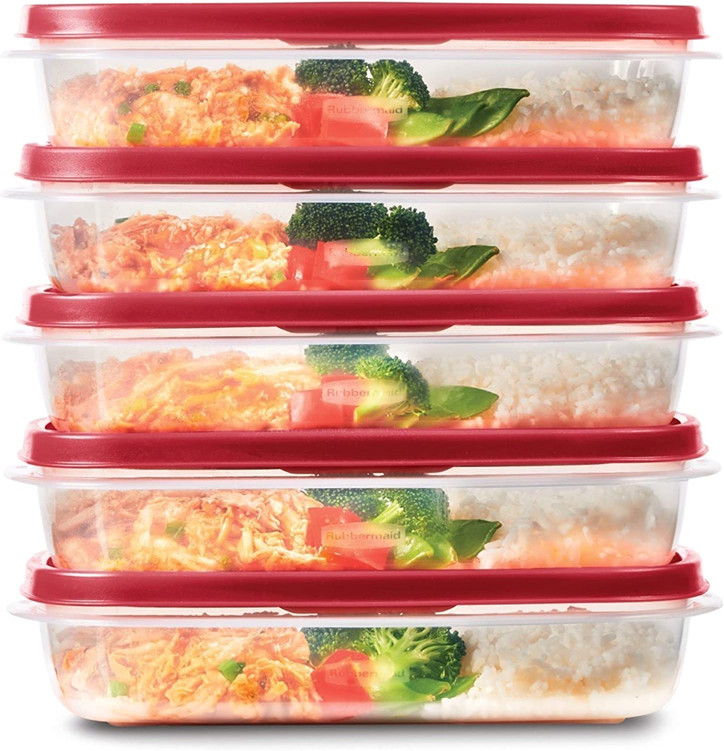 Rubbermaid EasyFindLids Meal Prep Containers, One Compartment, 5.5 Cup, 5-Pack