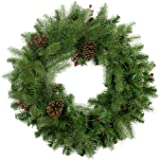 "Northlight 24"" Noble Fir with Red Berries and Pine Cones Artificial Christmas Wreath - Unlit"