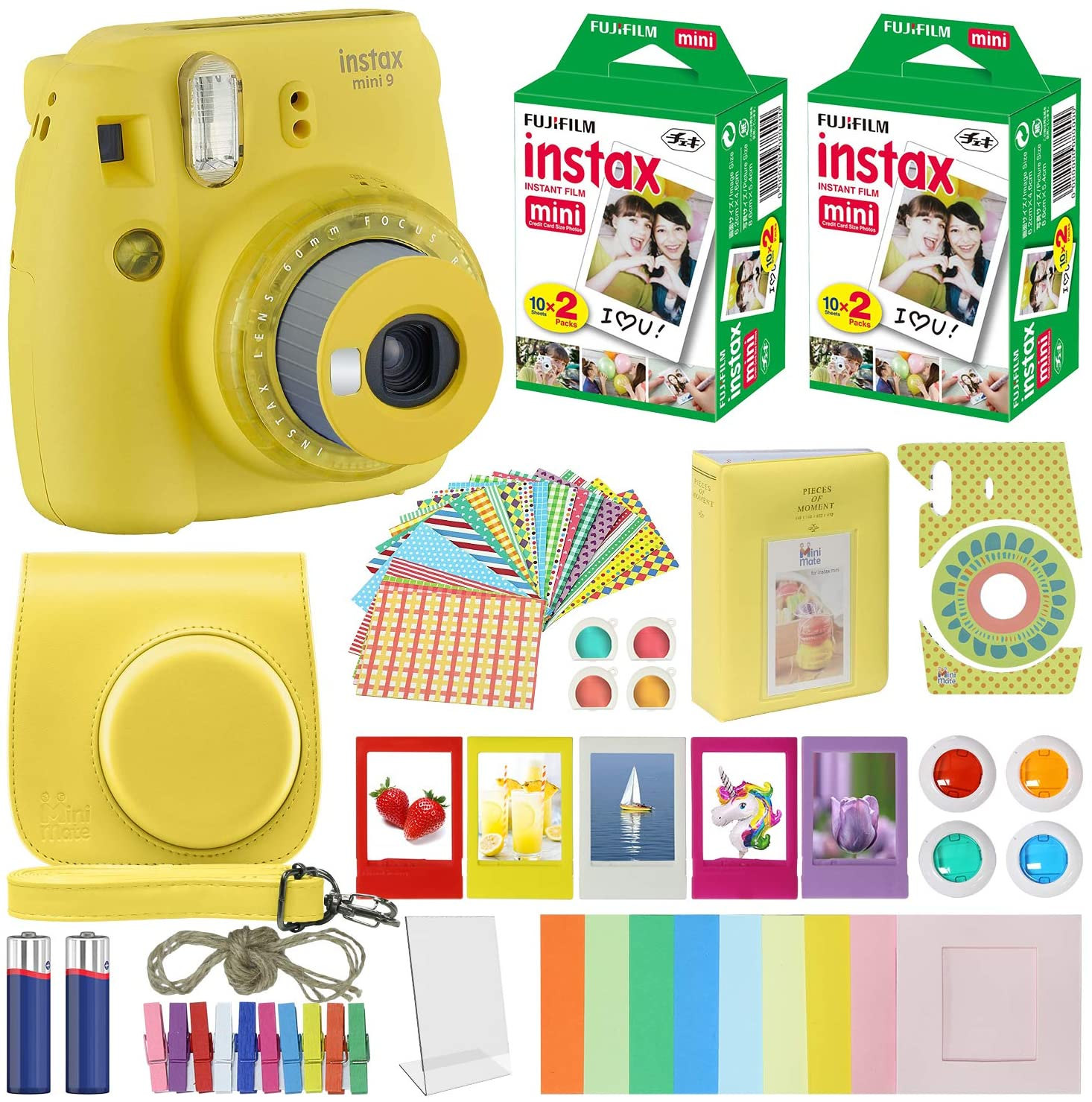 Fujifilm Instax Mini 9 Instant Camera Clear Yellow With Clear Accents With Carrying Case Fuji Instax Film Value Pack 40 Sheets Accessories Bundle Color Filters Photo Album Assorted