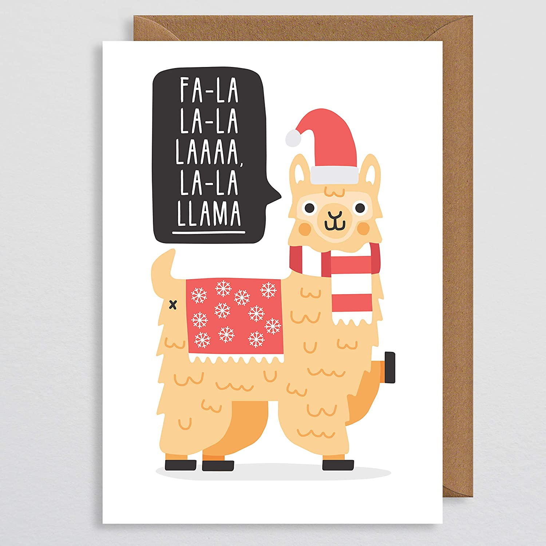 Cute Christmas Cards.Christmas Card Funny Cute Llama Christmas Card Fa La La