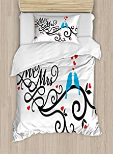 Ambesonne Wedding Duvet Cover Set, Mr. and Mrs. Swirled Branches with Red Hearts and 2 Love Birds Happiness, Decorative 2 Piece Bedding Set with 1 Pillow Sham, Twin Size, Blue Red