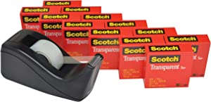 Scotch Transparent Tape with C60 Desktop Dispenser, Versatile, Cuts Cleanly, Engineered for Office and Home Use, 3/4 x 1000 Inches, Boxed, 12 Rolls, 1 Dispenser (600K-C60)