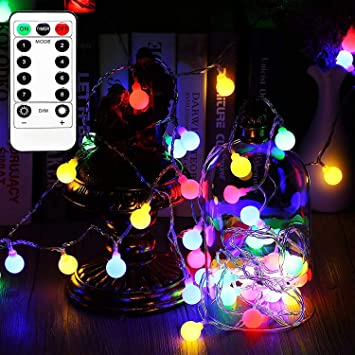 VanRayal 16ft 50LED Globe Fairy Lights,Outdoor Christmas Light Multicolor  with Timer for Patio Garden - Amazon.com : VanRayal 16ft 50LED Globe Fairy Lights, Outdoor