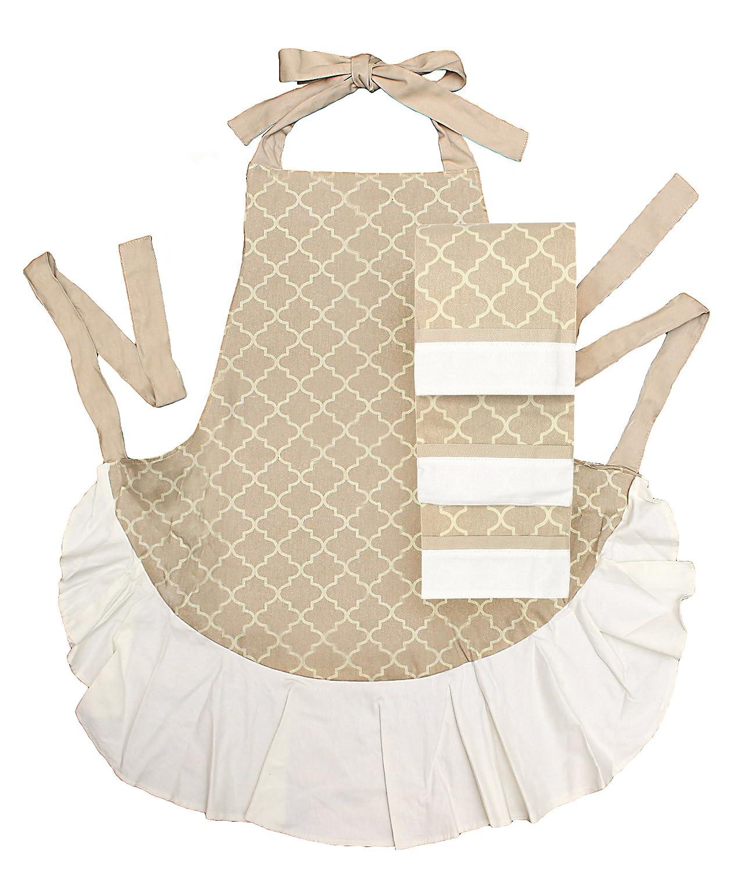 Waverly 4-Piece Tan /& Cream Patterned Apron and Kitchen Towel Hostess Set